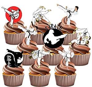 Artes Marciales Party Pack, decoraciones de tartas–36–Comestible stand-up Cupcakes