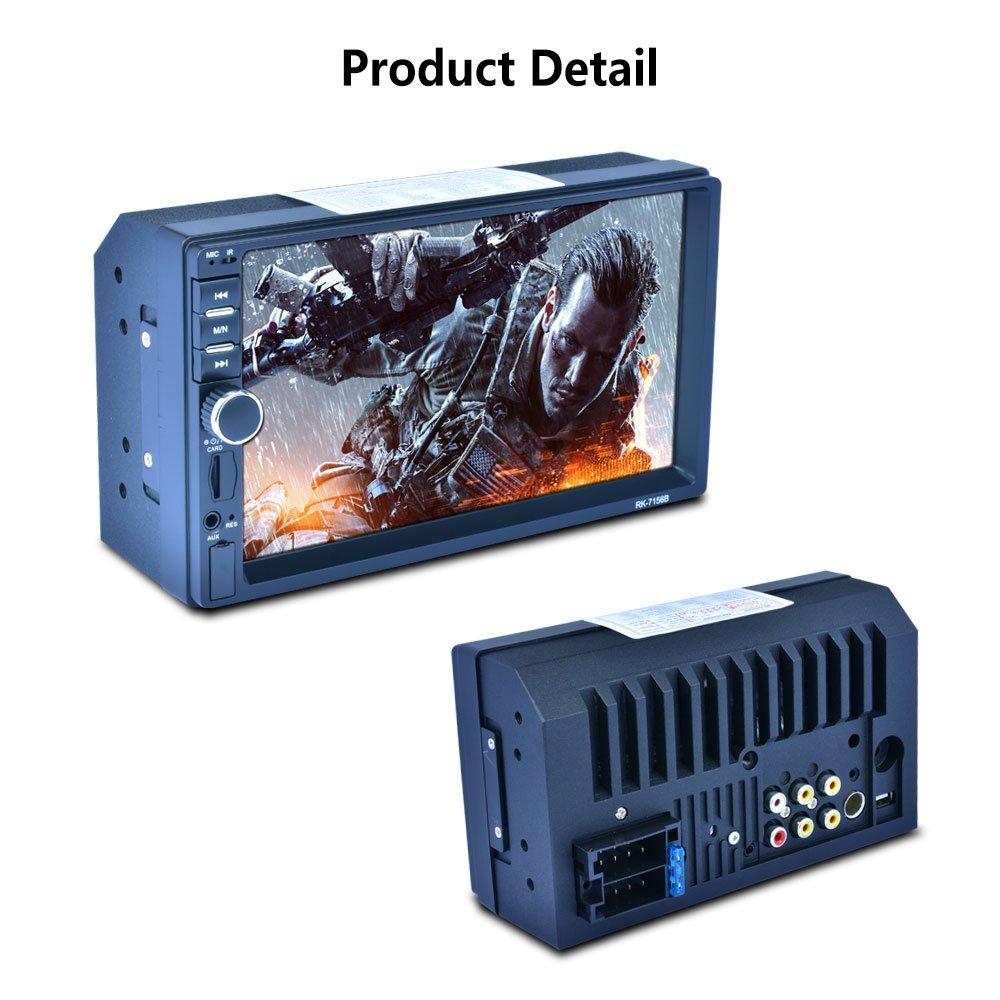 Vista Posterior//RDS Car Stereo Player MP5 con Pantalla DE 7.0 Pulgadas Dual Ingot Blue-Tooth Support Square Control//Interconexi/ón