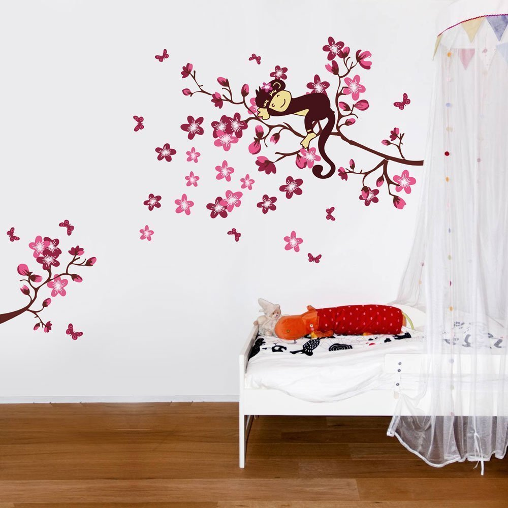 Sleeping Monkey on Pink Flower Tree Wall Sticker for children bedroom baby nursery EXCITES ISOMA102