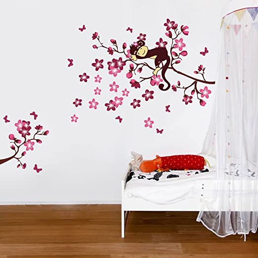High Quality Sleeping Monkey On Pink Flower Tree Wall Sticker For Children Bedroom Baby  Nursery Part 31