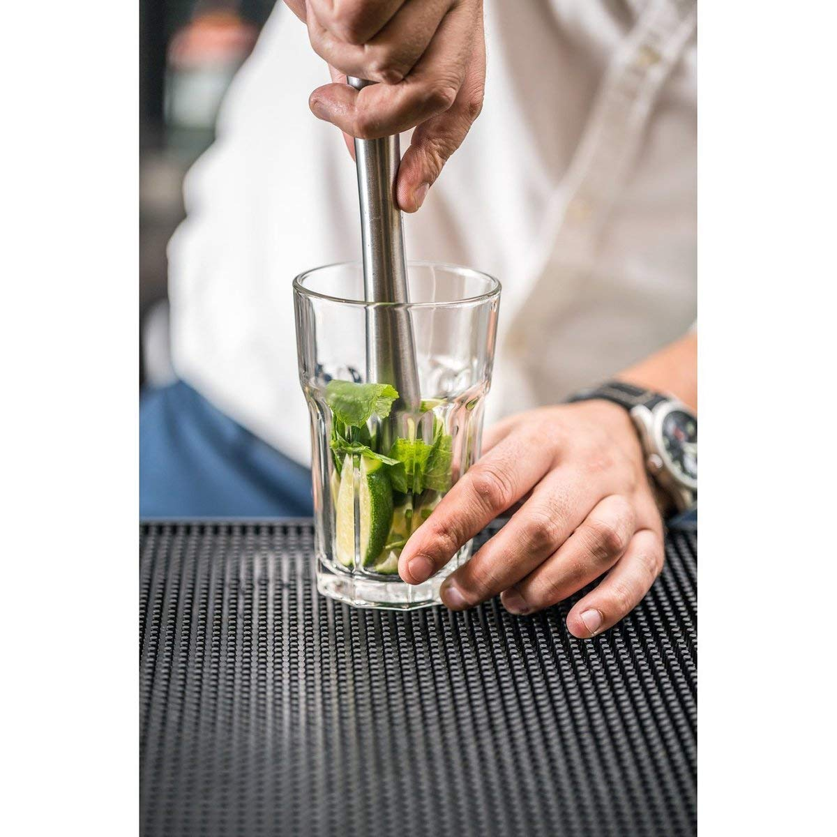 8in Drink Muddler with Mixing Spoon and Jigger (1/2oz, 1oz) - Metal Stainless Steel Cocktail Professional Muddler Bar Tool Set, Dishwasher Safe by Aulpon (Image #3)