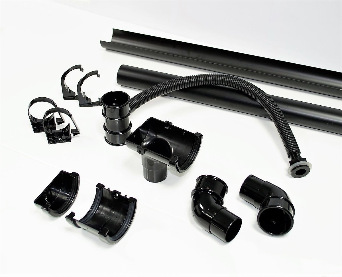 FloPlast Miniflo Half-Shed Water Butt Guttering Pack Black to Suit Standard 8 and 10 Feet Shed