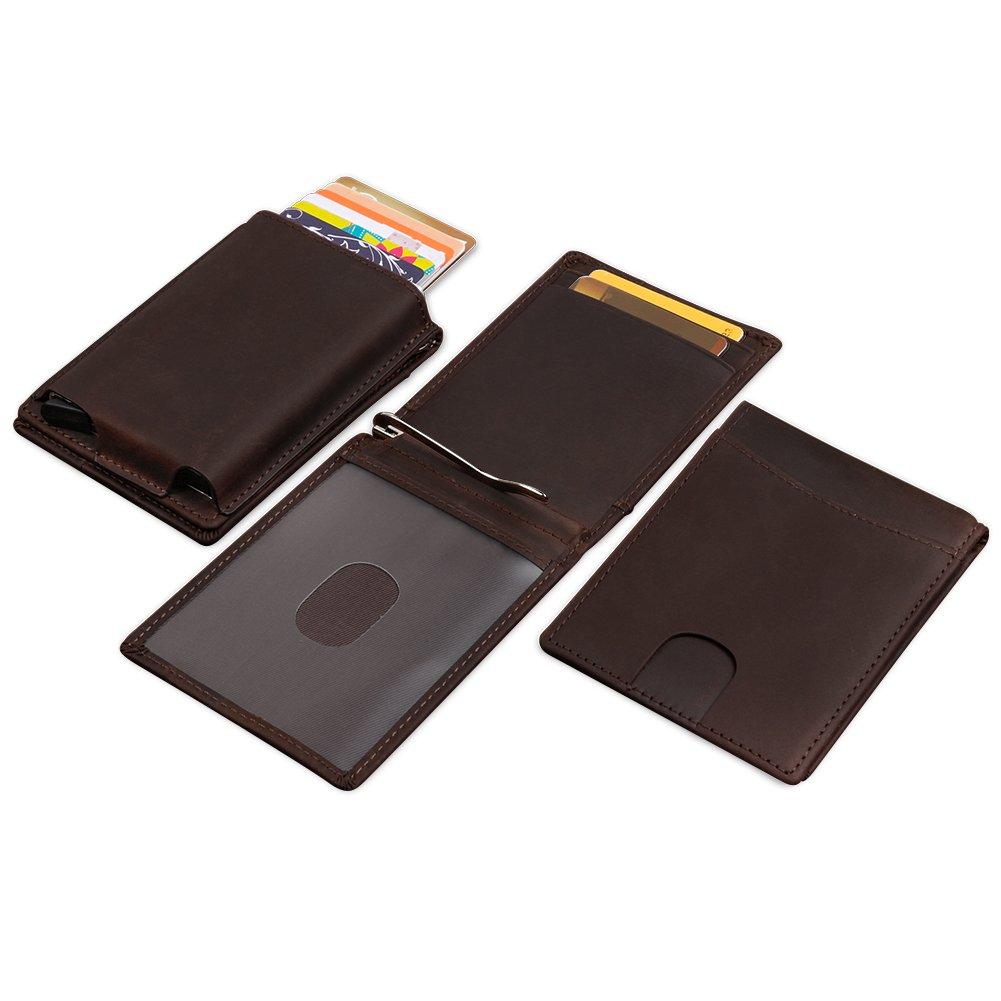 Bidear Money Clip Minimalist Pocket Wallet, Multi-Functional RFID Card Holder, Pop-up Card Case [Genuine Leather Vintage Series] (Brown) CAWSSCH