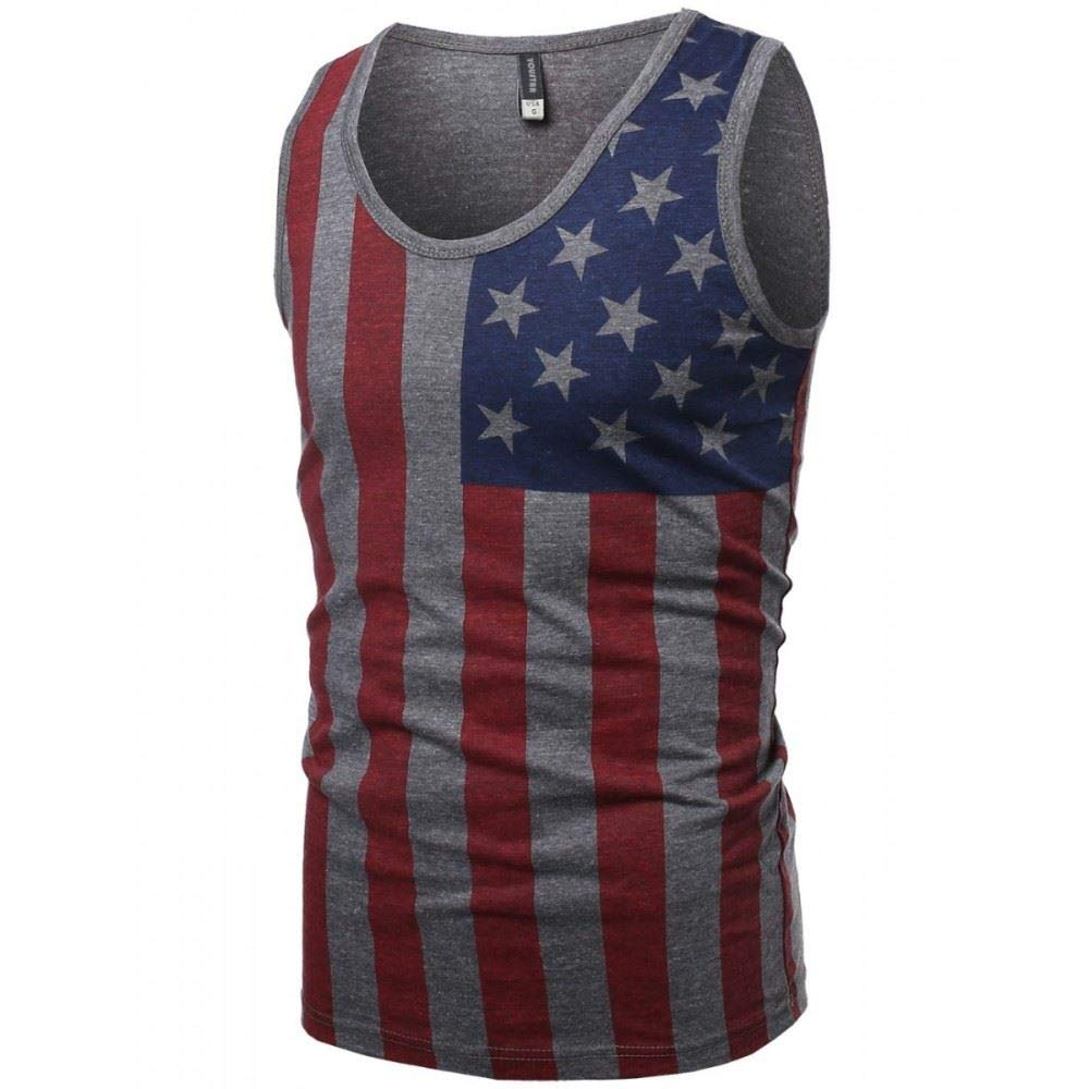 Hawks Bay Mens Patriotic Tank Top July 4th /& Independence Day Graphic Tee