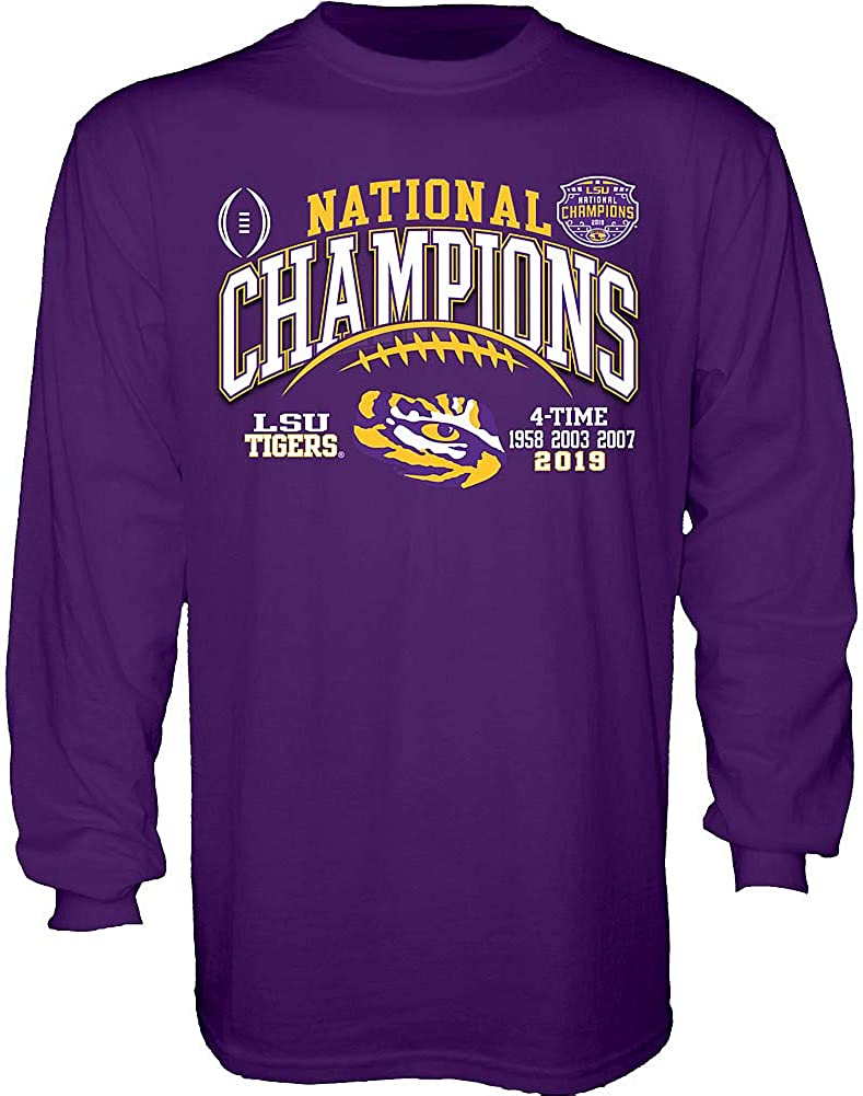 Elite Fan Shop LSU Tigers National Championship Champs Long Sleeve Tshirt 2019-2020 Laces Purple