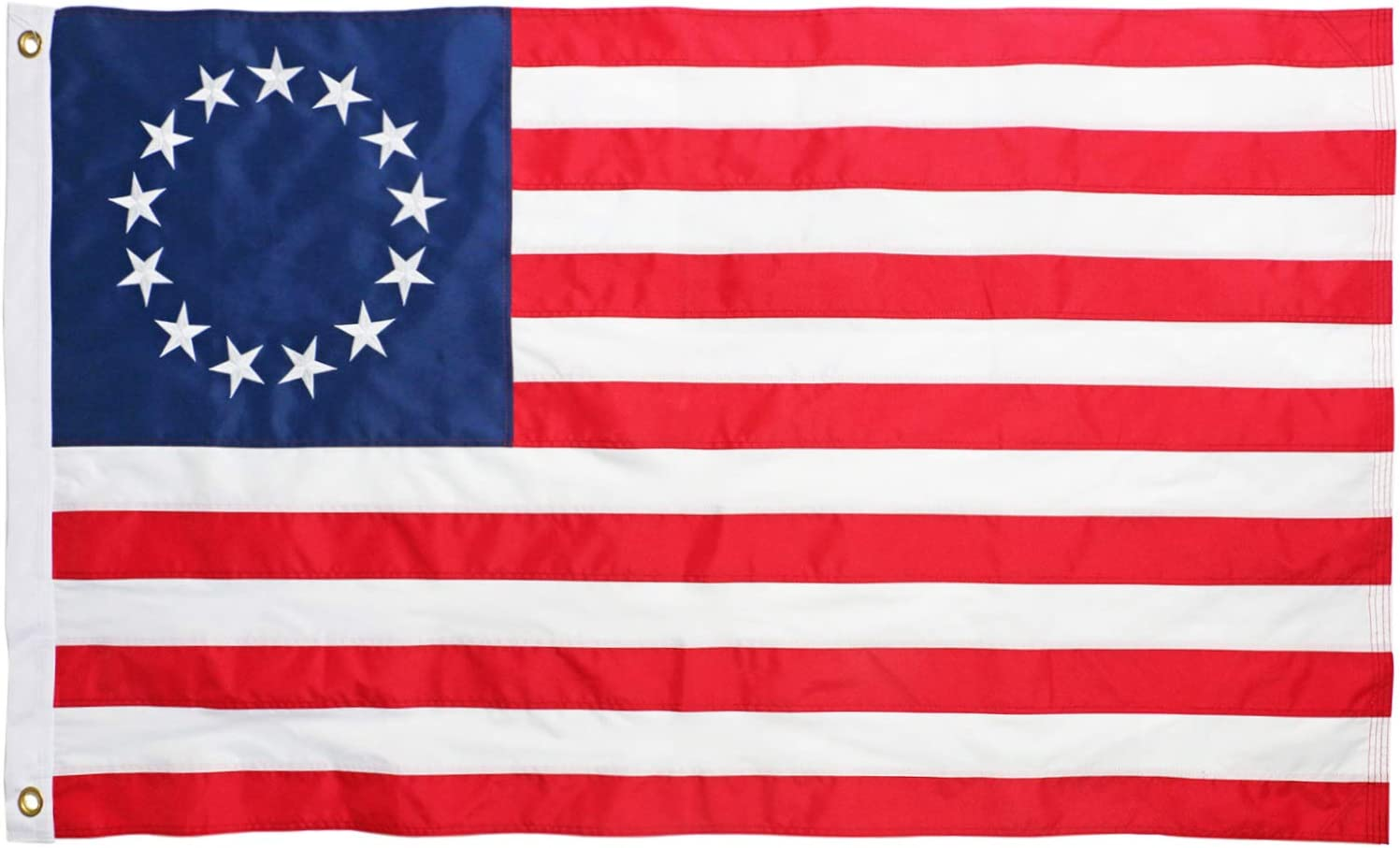 DLORY American Betsy Ross Flag 3x5 FT Outdoor Durable Heavy Duty 13 Star Fade Resistant Embroidered Stars and Sewn Stripes