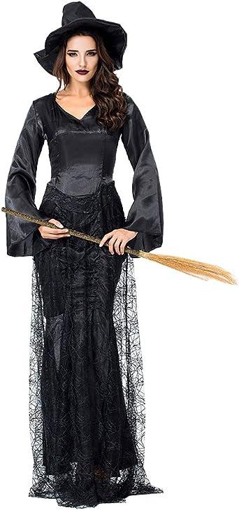 Suncaya Mujer Halloween Bruja Disfraz Víspera de Malla Negra ...
