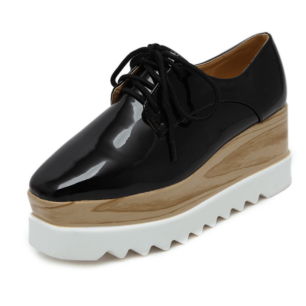 CYBLING Fashion Mid Heel Thick Sole Lace Up Square Toe Platform Oxford Shoes For Women