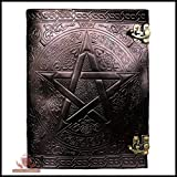 Natural Handicraft Handmade Black Pentagram Embossed Leather Journal Pentacle Book of Shadows Notebook Diary Appointment Organizer Daily Planner Office Diary Wicca Pagan 7 x 10 inches