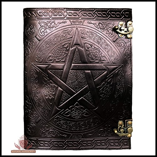 Handmade Black Pentagram Embossed Leather Journal Pentacle Book of Shadows Notebook Diary Appointment Organizer Daily Planner Office Diary Wicca Pagan 10 x 13 inches by Natural Handicraft