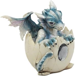 Ebros December Birthstone Dragon Egg Statue Onyx Gem Birthday Dragon Hatchling Figurine Fantasy Collector Dungeons and Dragons Gothic Alchemy Magic