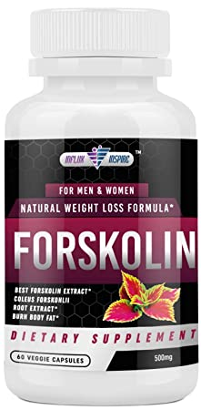 Forskolin Extract – 500mg – Promotes Weight Loss for Men and Women – Diet Pills – Burn Body Fat – Appetite Suppressant, Carb Blocker and Metabolism Booster – 60 Veggie Capsules