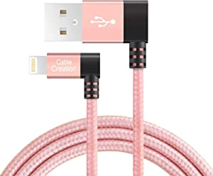 90 Degree iPhone Charger, CableCreation 4FT Angle USB to Lightning Charge Data Sync Cable [MFi Certified], Compatible iPhone 11, X, 8, 8 Plus, 7, 7 Plus, 6S, 5, SE, iPad, iPod, Rose Gold
