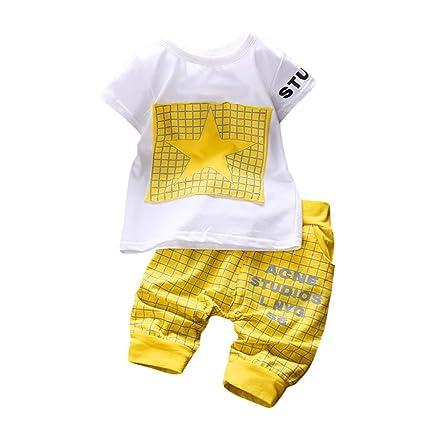 a4abe9a97 Amazon.com  Infant Baby Boys Short Sleeve Star T shirt Tops+Plaid ...