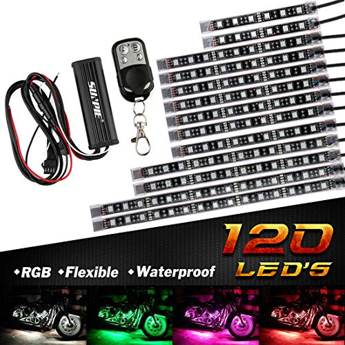 12Pcs Motorcycle LED Light Kit Strips Multi-Color Accent Glow Neon Ground Effect Atmosphere Lights Lamp with Wireless Remote Controller for Harley Davidson Honda Kawasaki Suzuki