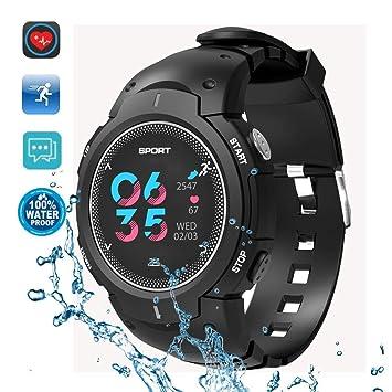 DTNO.1 Reloj inteligente deportivo, IP68, 50 m, podómetro impermeable, con frecuencia cardíaca real, recordatorio de llamadas: Amazon.es: Electrónica