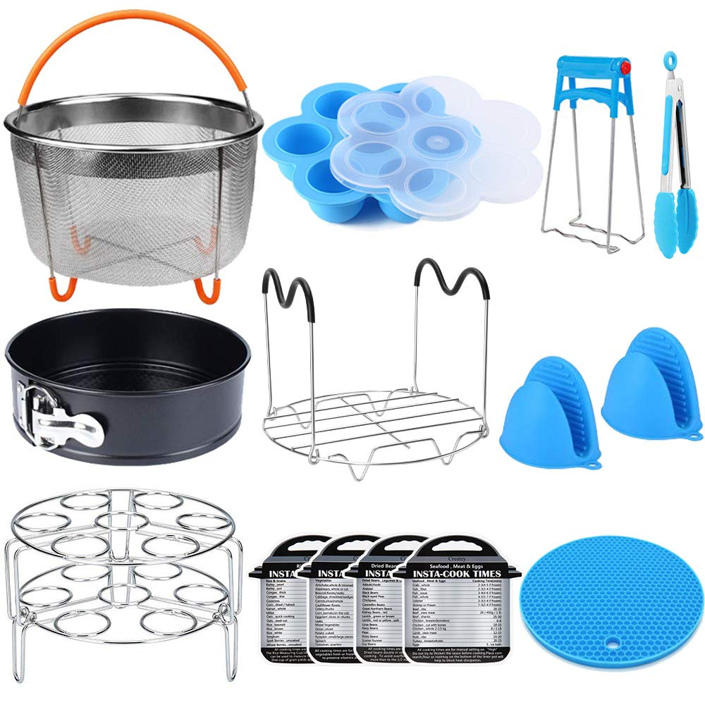 15 Pieces Pressure Cooker Accessories Set Compatible with Instant Pot Accessories 6 qt 8 Quart - Steamer Basket, Springform Pan, Stackable Egg Steamer Rack, Egg Bites Mold, Kitchen Tongs & More by Createy