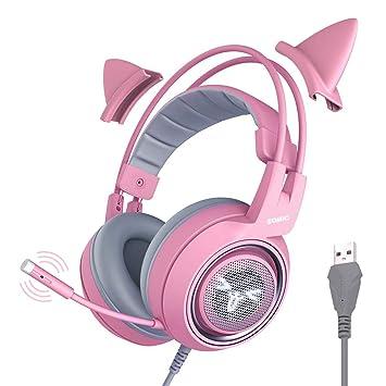 Somic g951rosa Parte Auriculares, Color Rosa Cat de oído Auriculares con virtuell 7.1 rodéate Cuchillas