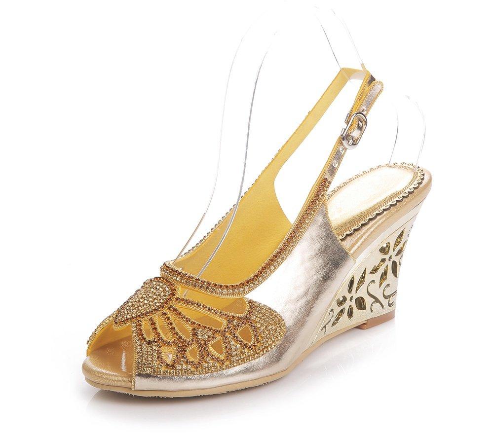 ZPL Damen Knöchel Gurt Keil Hacke Sandalen Damen Diamant Kleid Hochzeit Abschlussball Party Schuhe Größe