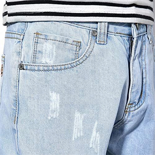 Ocio De Aspecto Del Pierna Rectos Mediados Los Cintura Rasgados Más La Joven Vaqueros Azul Ajustados Moda Deporte Motorista Delgados Pantalones Hombres Denim gHxUq5A
