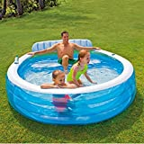 "Intex Swim Center Inflatable Family Lounge Pool, 88"" X 85"" X 30"", for Ages 3+"