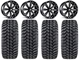 Bundle - 9 Items: MSA Black Kore 14'' ATV Wheels 28'' Regulator Tires [4x156 Bolt Pattern 12mmx1.5 Lug Kit]