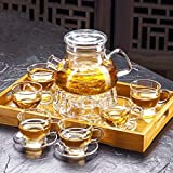 High Temperature Resistance ZS Glass Teapot Set Household High Temperature Resistant Teapot Set Heat Resistant Glass Tea Set 800ml (Teapot + 6 Cups + Teacup Base + 6 Coasters + Tray)