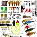 SUPERTHEO Fishing Lure Set, Frog Lures Soft Hard Metal Lure VIB Rattle Crank Popper Minnow Pencil Jig Hook for Trout Bass Salmon with Free Tackle Box