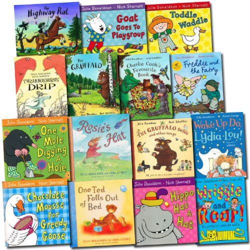Julia Donaldson Collection 15 Children Books Set Gruffalo, Wriggle ...