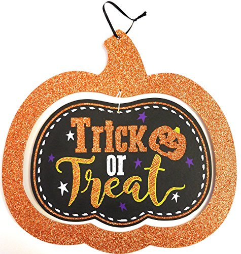 Cute Sparkly Halloween Trick or Treat Sign Decoration