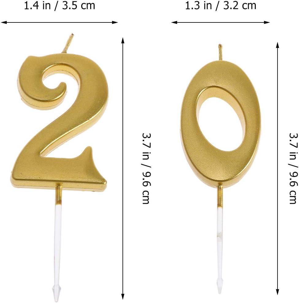 Amosfun 2pcs 20/ème Bougie de g/âteau danniversaire d/écoratif g/âteau danniversaire Topper Candles Party Supplies num/éro 2 et 0 dor