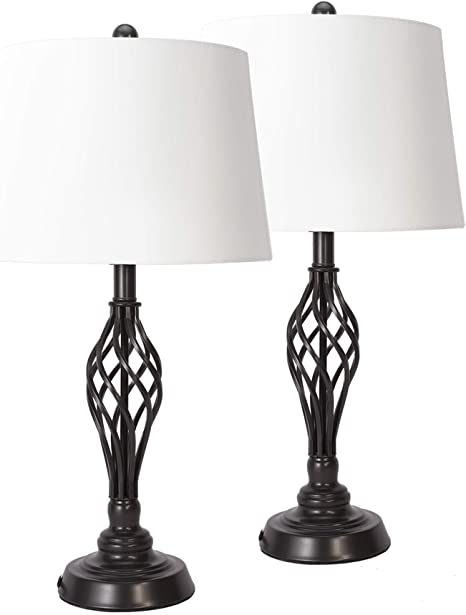 Amazon Com Co Z Farmhouse Table Lamps Set Of 2 Bronze Retro End Table Lamps Pair With Wrought Iron Lamp Base And Fabric Shade Country Lamps For Living Room Bedroom Family Entryway Bedside Home