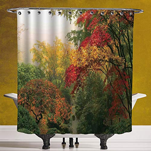 SCOCICI Stylish Shower Curtain 3.0 [ Country Home Decor,Maple Trees in The Fall at Portland Japanese Garden One Foggy Morning Scenery,Red Yellow Green ] Fabric Bathroom Decor Set with Hooks