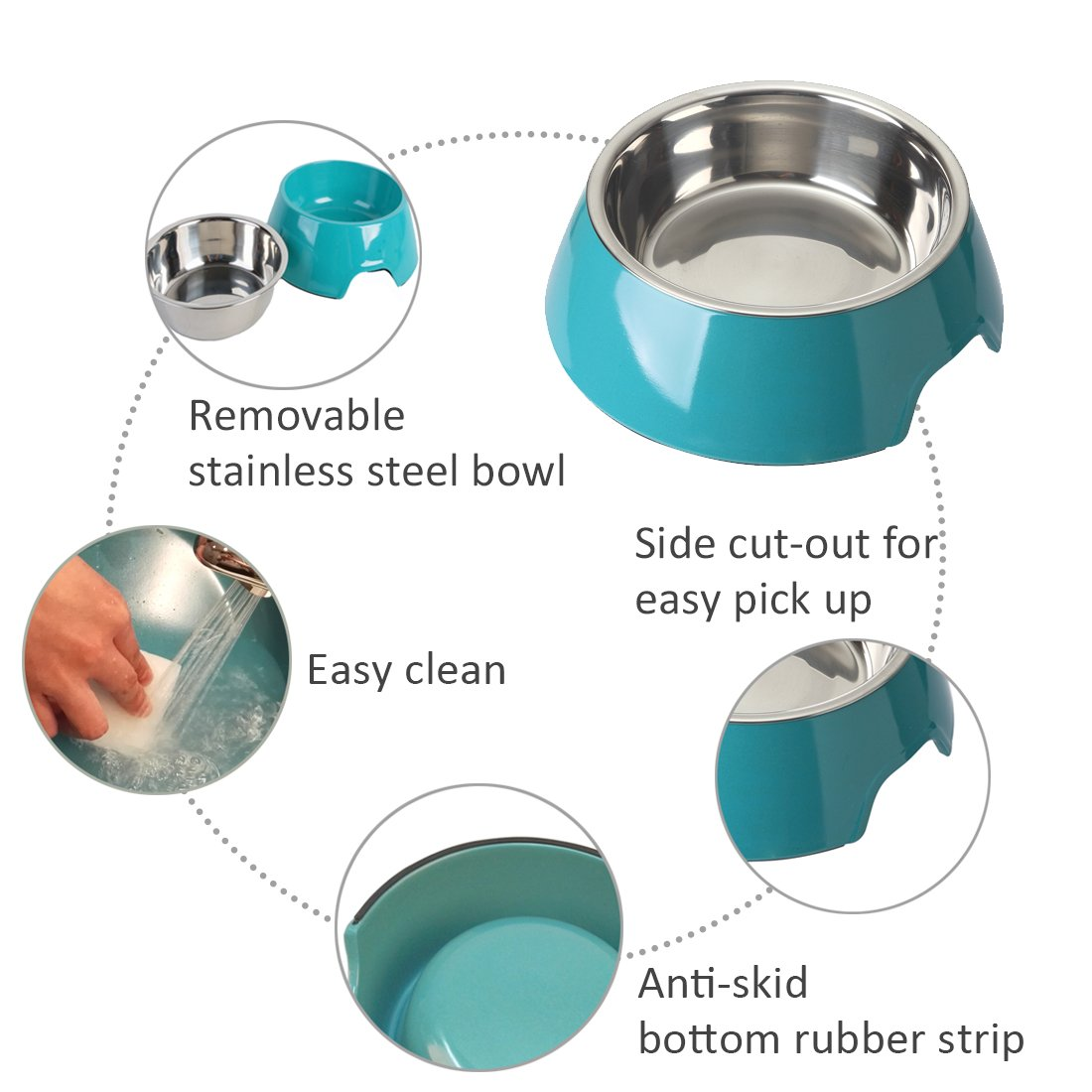 Mainstreet Dog Bowls Stainless Steel Bamboo Fiber Water and Food Feeder with Stand Animal Pet Food Holder Eco-Friendly for Dogs Cats (Blue, Medium) by Mainstreet (Image #6)