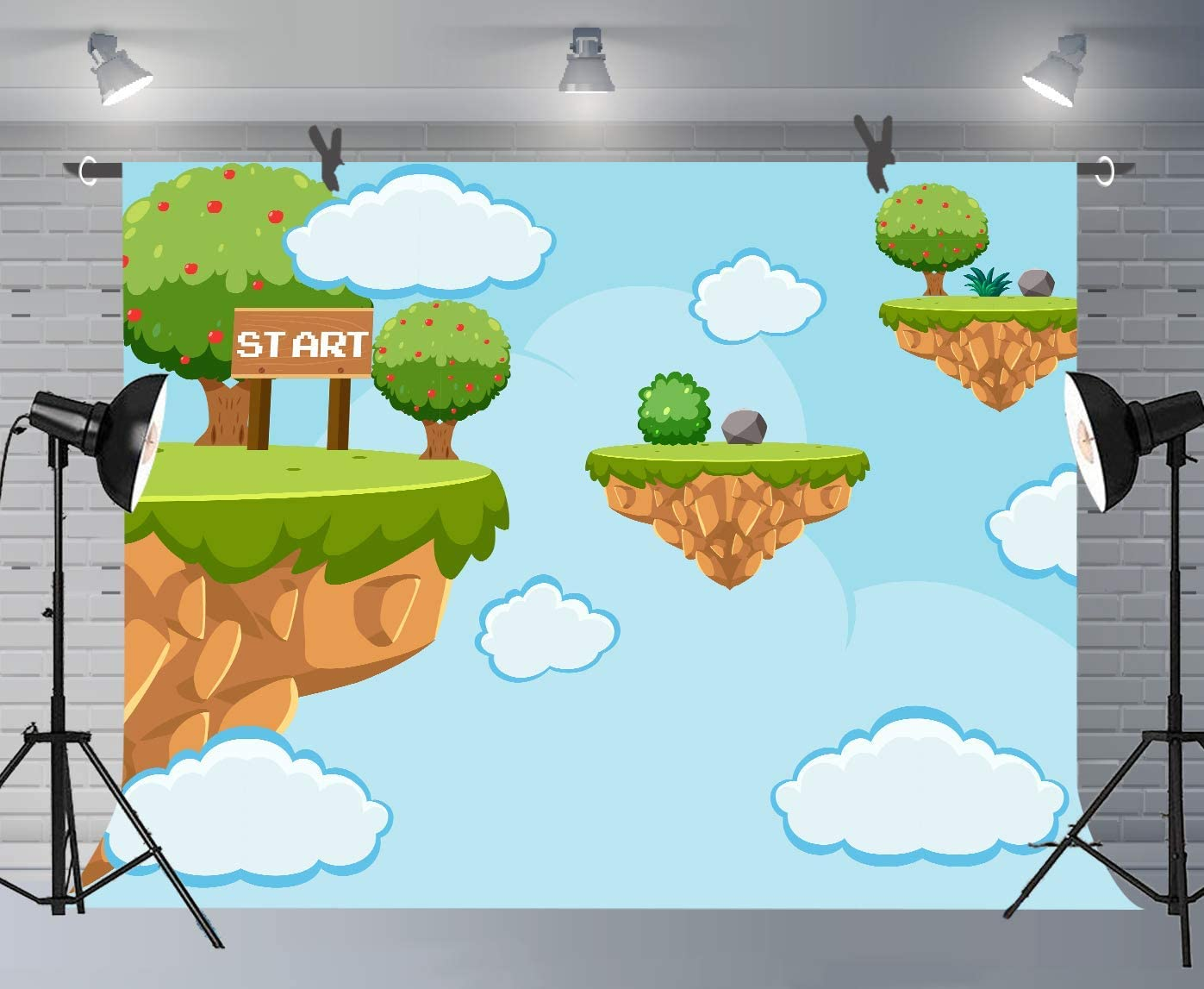 10x8ft Adventure Island Background Kids Game Scene Photography Backdrop Photo Props Murals DSFU092