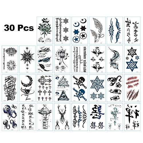30 Sheets Black Cartoon Temporary Tattoo Stickers with Scorpion Fox Flower character Skull Design and Premium Waterproof, for Men Women Kids(C)
