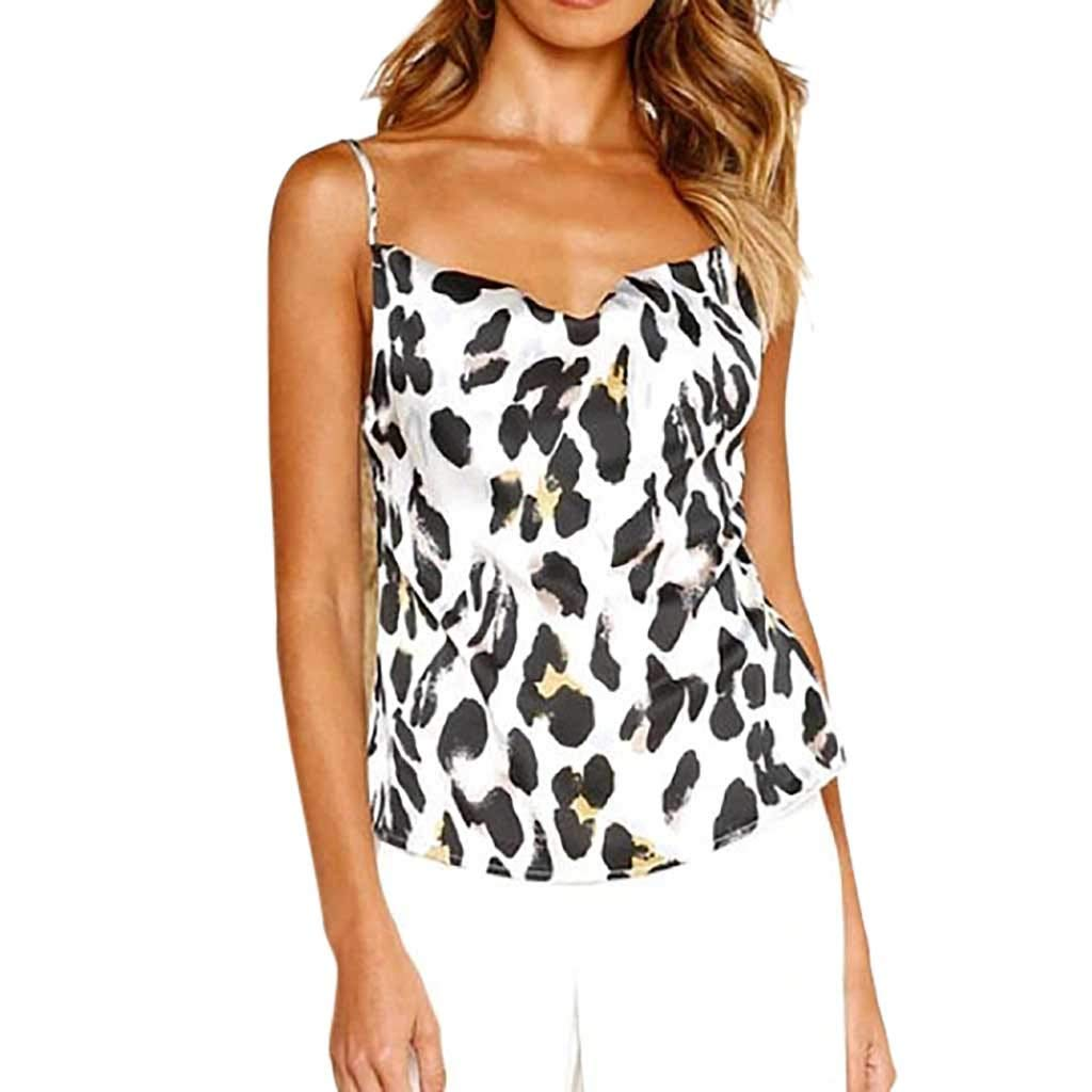 NUWFOR Women Ladies O-Neck Print T-Shirt Sleeveless Casual Tops Blouse Vest Tank(White,US M Bust:33.8'') by NUWFOR (Image #1)