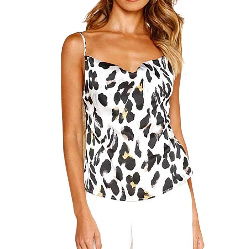 NUWFOR Women Ladies O-Neck Print T-Shirt Sleeveless Casual Tops Blouse Vest Tank(White,US M Bust:33.8'')