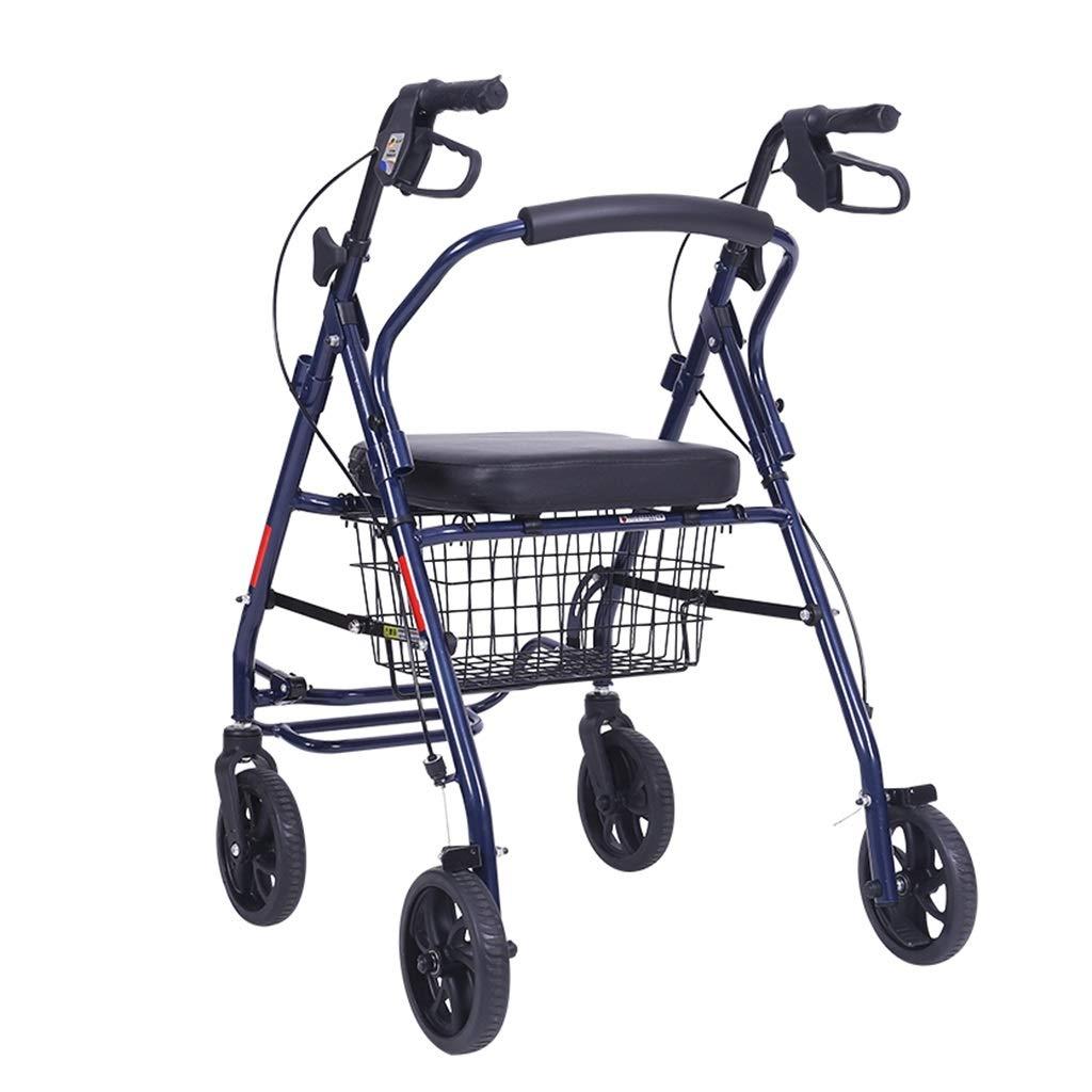 老人のトロリー買物車の携帯用歩行者の折る車椅子は家を取ることができます四輪車のギフトは耐えることができます120キログラム (Color : BLUE, Size : 68*52*90) B07SHB2KKD BLUE 68*52*90