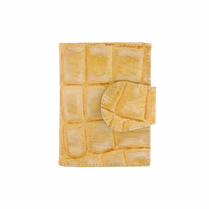 Cartera pequeña en piel grabado cocodrilo Talla: U Color: AMARILLO: Amazon.es: Ropa y accesorios