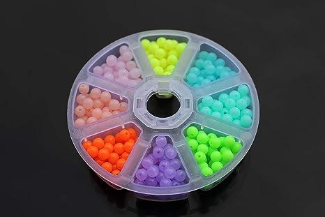 Tigofly 480 unidades por caja de cuentas de plástico UV de 5 mm redondas, anzuelos de mar, cebo de pesca: Amazon.es: Deportes y aire libre