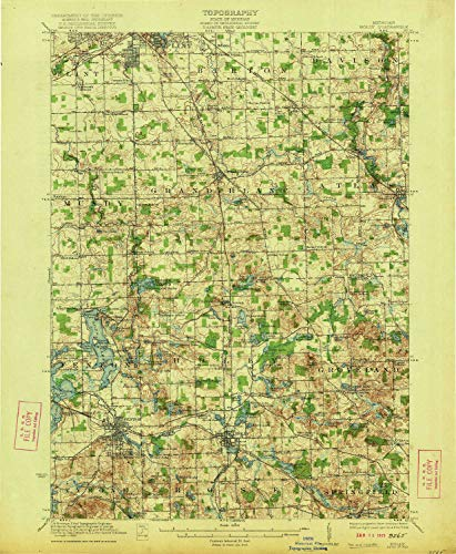 YellowMaps Holly MI topo map, 1:62500 Scale, 15 X 15 Minute, Historical, 1922, 19.9 x 16.4 in - Tyvek