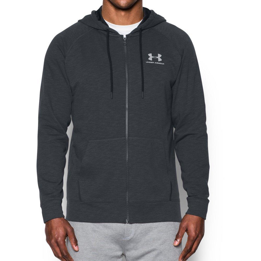 Under Armour Men's Sportstyle Fleece Full Zip Hoodie, Black /White, Small