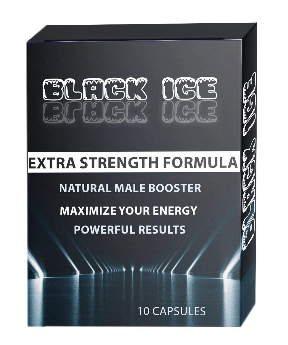 Black ICE Extra Strength Formula All Natural Male Energy Pills - Effective Amplifier for Strength, Energy and Endurance - Clinically Proven Enhancing Men Pill (10 Caps) by ICE PILLS