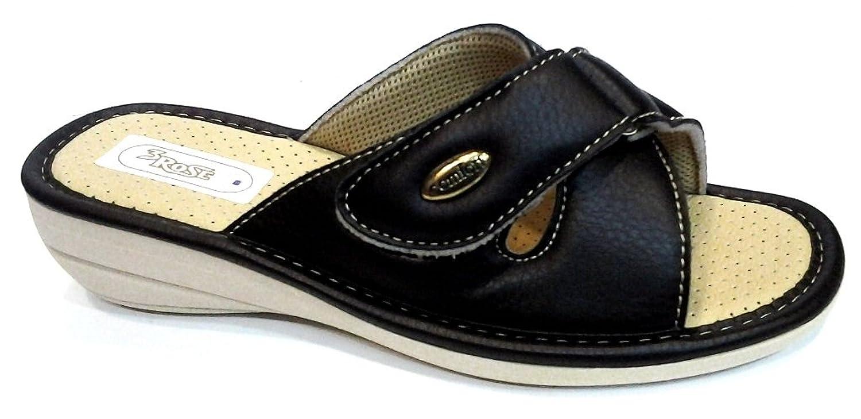 3Rose - Zapatillas de estar por casa de piel sintética para mujer negro  negro 37 4294ab589a1