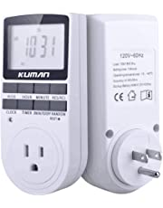 Kuman 15A/1800W 24-Hour Digital Timer Socket, 7-Day Digital Programmable Timer Switch with 3-Prong Outlet for Lights and Appliances with LCD Display (one Pack)