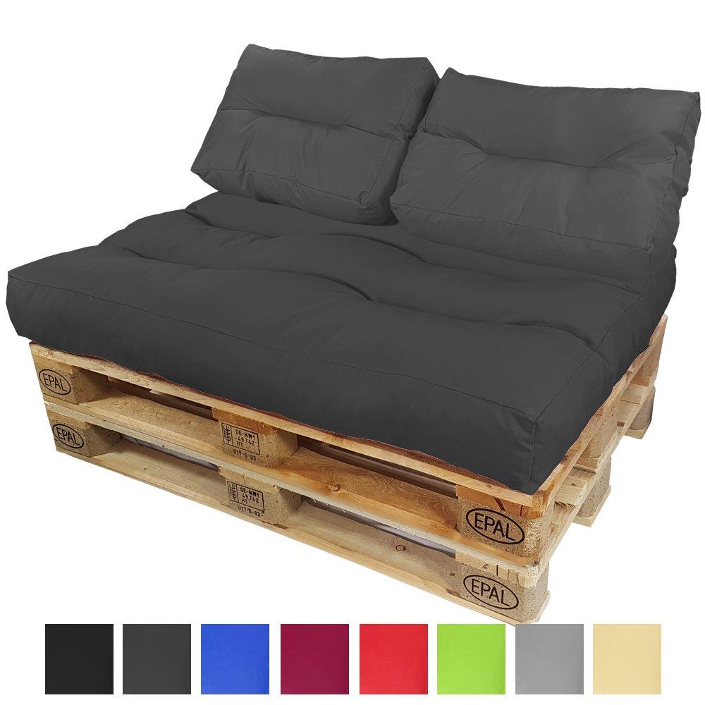 PROHEIM Palettenkissen-Set Lounge  Sitzkissen und 2 Kurze Rückenkissen Sitzpolster für Europaletten Paletten-Sofa Wasser- und Schmutzabweisend Palettenauflage mit Wave-Steppung, Farbe Anthrazit