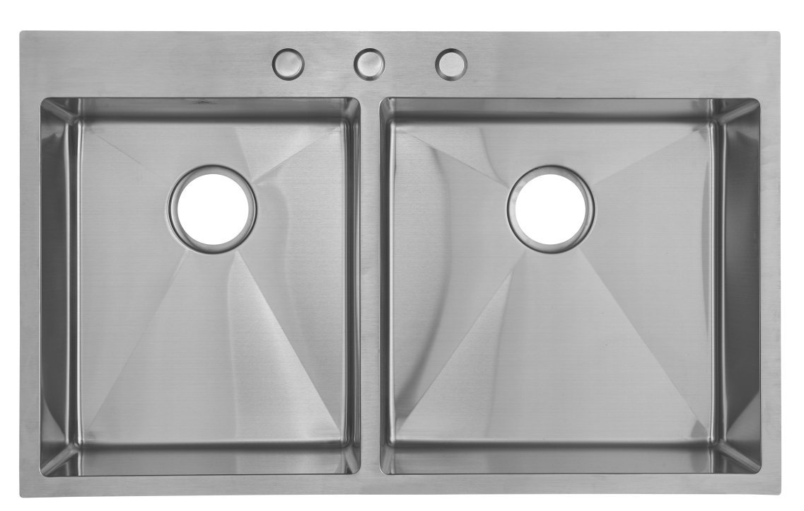 Starstar 36 Inch Top-mount / Drop In 304 Stainless Steel Double Bowl Kitchen Sink 16 Gauge (40/60) by Star (Image #1)
