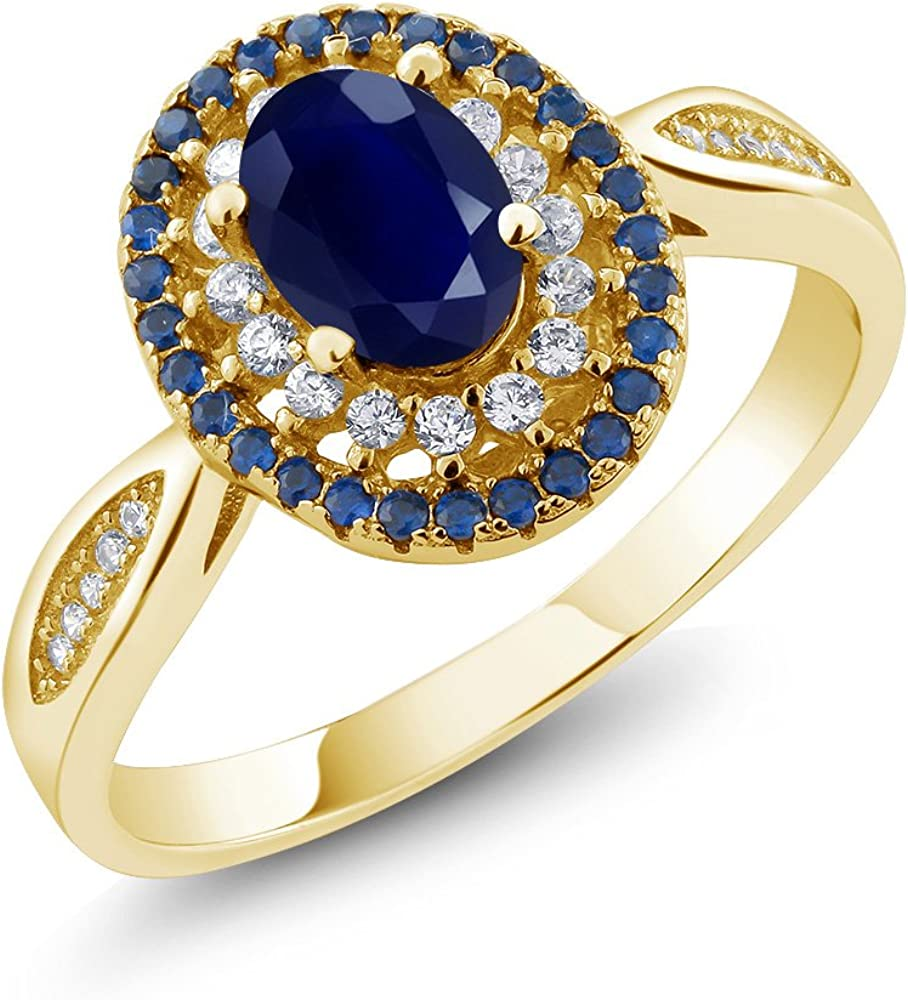 Gem Stone King Blue Sapphire 18K Yellow Gold Plated Silver Women's Engagement Ring 1.62 Ctw Oval, Gemstone Birthstone (Available 5,6,7,8,9)