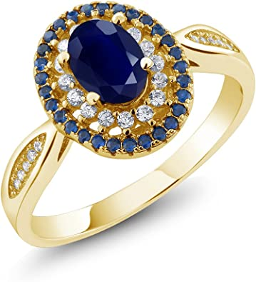 Available 5,6,7,8,9 Gem Stone King White Created Sapphire Blue Simulated Sapphire 18K Rose Gold Plated Silver Ring